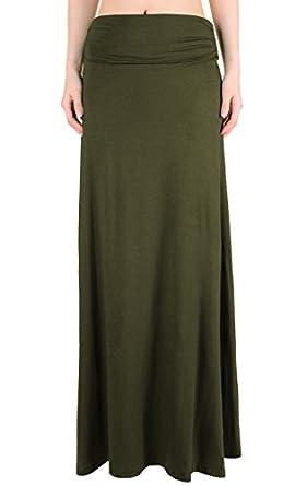 LeggingsQueen Women's High Waisted Fold Over Maxi Skirt (Small, Olive)