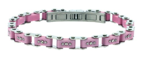 Unisex Designer Stainless Steel Pink Bicycle Link Bracelet 7