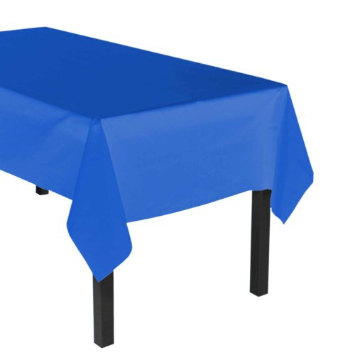 "Party Essentials Heavy Duty Plastic Table Cover, 54 x 108"", Royal Blue - 1"