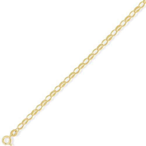 Jewelco London 9ct Light Yellow Gold - - Premium Quality Diamond-Cut Oval Belcher Chain - 18