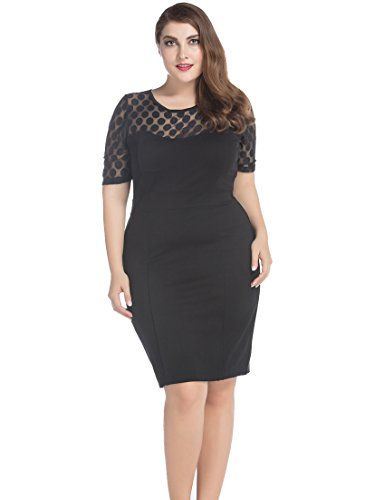 Chicwe Women's Plus Size NR Ponte Shift Dress with Jacquard Lace Top 14 Black