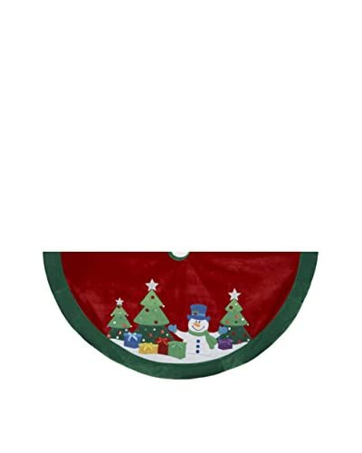 Kurt Adler 48 Snowman & Trees Embroidered Tree Skirt