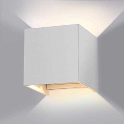 GHB 7W Lampada Esterna da parete Impermeabile Lampada a Muro in Alluminio Luce LED Angolo Regolabile Bianco Caldo IP65 - Bianco