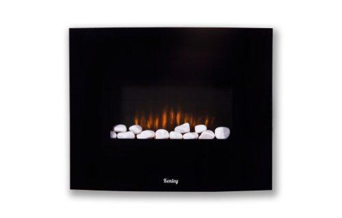 Kenley Chimenea Electrica de Pared - Efecto Llama Ardiendo - Radiador Calefactor con Termostato / Mando a Distancia / Guijarros Blancos - Negro - 1,5KW