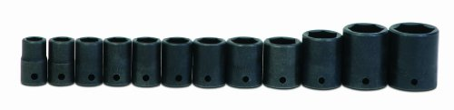 Jh Williams Ms-4-12Hrc 12-Piece 1/2-Inch Drive Metric Shallow 6 Point Impact Socket Set