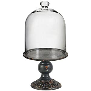"Glass Cloche Dome w/ Pedestal Stand 9""x17.9"""