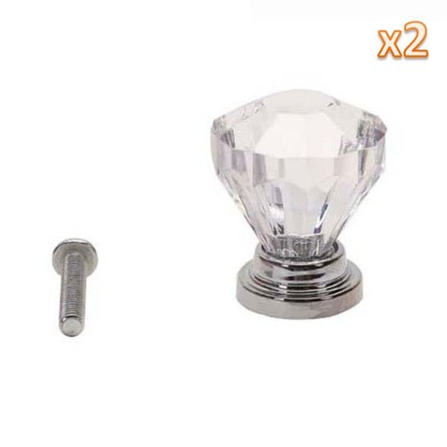 Kobwa(Tm) 2Pcs Clear Diamond Shape Plastic Cabinet Knob Cupboard Drawer Pull Handle With Kobwa'S Keyring front-813027