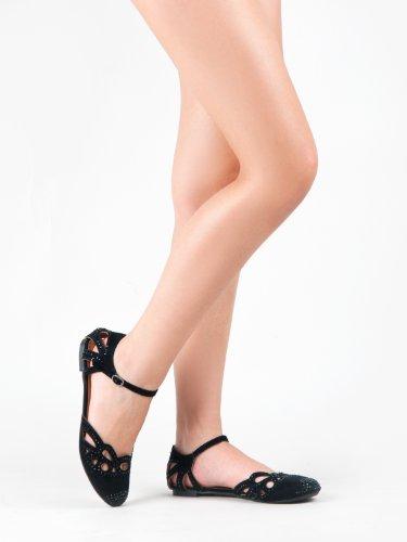 Nature Breeze Ariel-13 Rhinestone Cut Out Ankle Strap Flat Sandal GREEN (6)