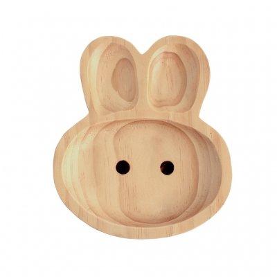 Petits Et Maman Kids' Wood Plate, Rabbit