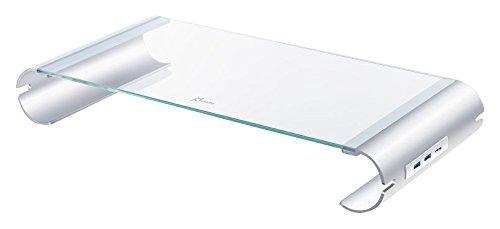 【国内正規代理店品】J5 create セルフパワー対応USB3.0×3ポートハブ搭載モニターディスプレイスタンド 強化ガラス 高耐久アルミ使用  iMac Macbook対応 机上台 JUT325A