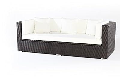 OUTFLEXX Sofa aus Polyrattan mit Kissenboxfunktion inkl. Polster für 3 Pers., 210x85x70cm, braun von Outflexx bei Gartenmöbel von Du und Dein Garten