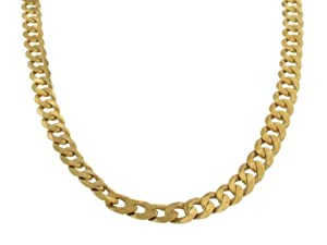 Mens Curb Necklace 9ct Flat Curb 20 Inch Chain