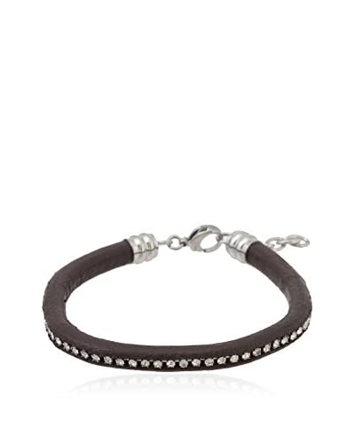 1913 Swarovski Elements Dark Brown Leather Bracelet
