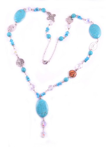 Catholic Saint Medal Necklace Turquoise St. Padre Pio St. Jude