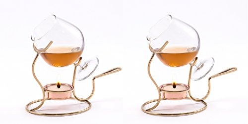 Old Dutch 7 by 4-Inch Brandy Warmer with Tea Light and Glass Snifter, Copper, Set 2