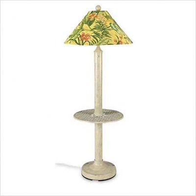 Catalina Outdoor Floor Lamp with Attached Tray Table and Sunbrella Shade Shade Color: Spring, Lamp Finish: Bronze