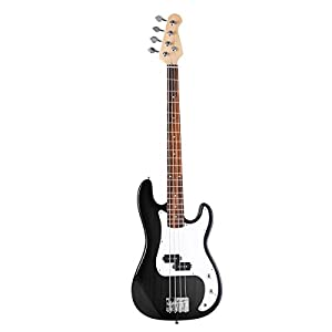 Generic New Black Full Size 4 String Electric Bass Guitar with Strap Guitar Bag Amp Cord