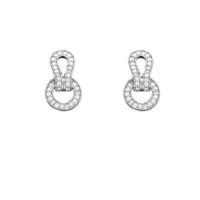 Radiant Sterling Silver Button Earrings with Precious CZ Circle and Fold-Over Top Design(WoW !With Purchase Over $50 Receive A Marcrame Bracelet Free)