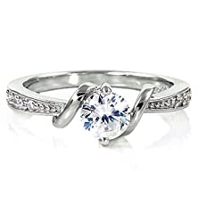 buy Entwined Love: 0.71Ct Brilliant-Cut Russian Iof Cz Promise Engagement Ring 925 Silver, 3066 Sz 7.0