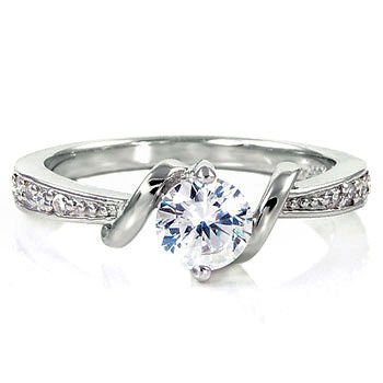 Entwined Love: 0.71ct Brilliant-cut Russian IOF CZ Promise Engagement Ring 925 Silver, 3066 sz 7.0
