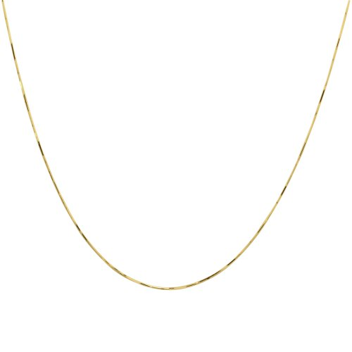 10k Yellow Gold .60mm Solid Diamond-Cut Snake Chain Necklace, 18""