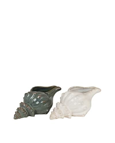 Three Hands Set of 2 Ceramic Sea Shells