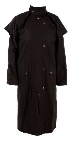Long Black Mens Oil Cloth Oilskin Western Australian Waterproof Duster Coat Jacket Heavy Duty Warm Tough (2XL)
