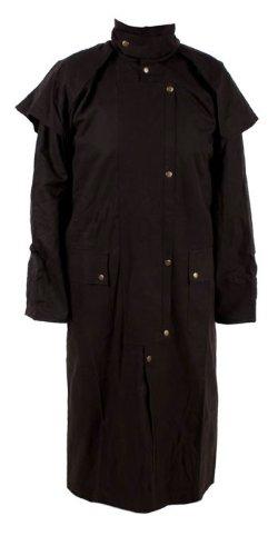 Long Black Mens Oil Cloth Oilskin Western Australian Waterproof Duster Coat Jacket Heavy Duty Warm Tough (2XL)