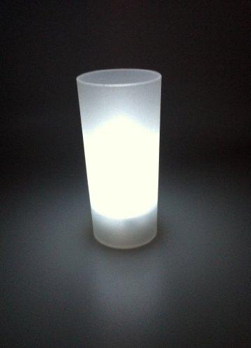 3x LED Kerzen Teelichter mit Licht-Glas WEISS flackernd