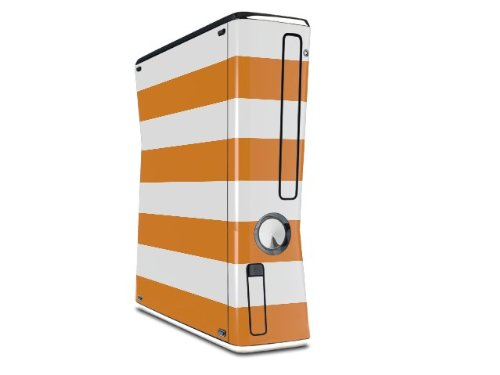Kearas Psycho Stripes Orange and White Decal Style Skin for XBOX 360 Slim Vertical microsoft xbox 360 hd dvd skin new ice blue system skins faceplate decal mod