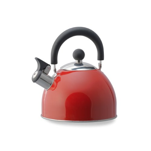 Kamenstein Whistle Tea Kettle (Stainless Steel, 2-Quart, Red)