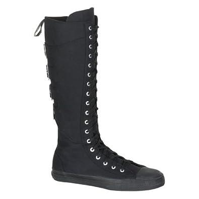 MENS Casual Canvas Knee Boot 4 Buckles Black Punk Rocker Emo Size: 4