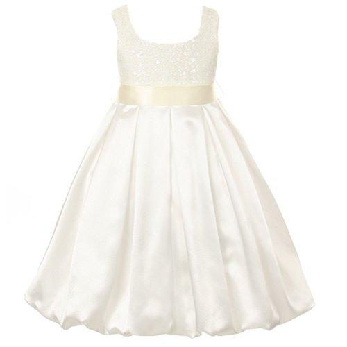 Kids Dream Ivory Sequin Satin Bubble Christmas Dress Toddler Girls 2T front-289362