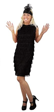 ILOVEFANCYDRESS® LADIES FLAPPER FANCY DRESS COSTUME 1920'S FRINGE DRESS IN BLACK WITH MATCHING FEATHER SEQUIN HEADPIECE 20'S CHARLSTON (BLACK, 10-12)