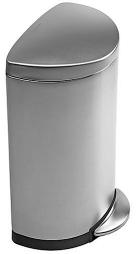 simplehuman, Semi-Round Pedal Bin with Fingerprint-Proof Brushed Stainless Steel Finish, 40 Litre
