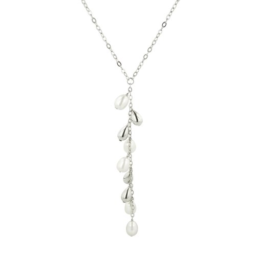 Sterling Silver Freshwater Cultured Pearl Chain Drop Necklace, 17.25+2