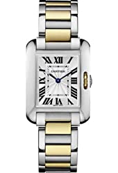 Cartier Tank Anglaise Silver Dial Stainless Steel and 18kt Yellow Gold Ladies Watch W5310046