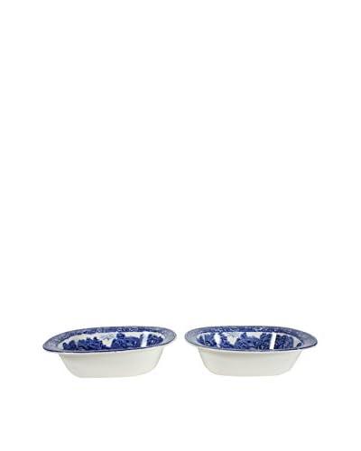 Pair of Rural England Blue Vegetable Bowls, Blue/White