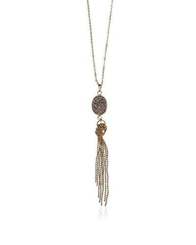 Elise M. Maya 18K Gold-Plated Rose Druzy Tassel Necklace