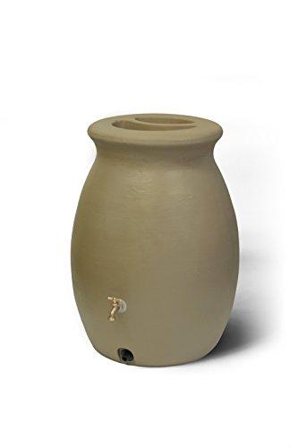 Algreen-Products-81213-Castilla-Rain-Barrel-with-Spigot-Sandalwood-50-Gallon