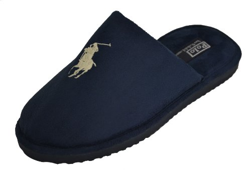 Cheap Polo Ralph Lauren Men's Big Pony Slippers-Navy Blue (B005XDFY6Y)