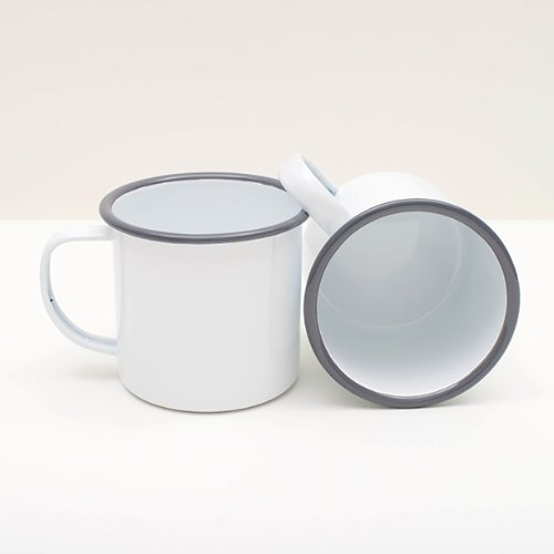 Enamelware 12 Oz. Coffee Mug, Grey Rim