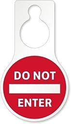 Do Not Enter, PVC Vinyl Door Hanger, Pear Shaped, 4 Tags / Pack, 5\