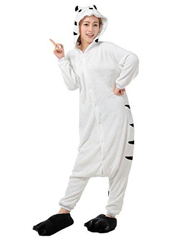 LATH.Pin tigre bianca Jumpsuit animale Cartoon Halloween costume cosplay in pile pigiama unisex pigiama taglia L