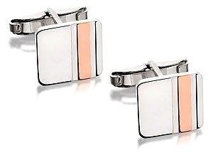 Sterling Silver And Copper Stripe Square Swivel Cufflinks
