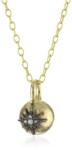 Mizuki 14k Gold Ball and Diamond Starburst Pendant Necklace Chain Necklace