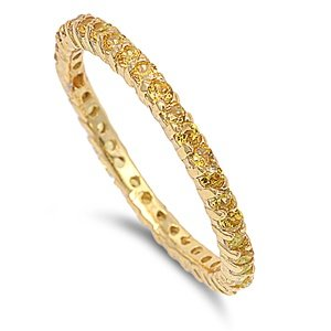 2mm Sterling Silver 18K Gold Tone Stackable Handset Swarovski YELLOW Crystal CZ Eternity Engagement Band Ring 4-10 (8)