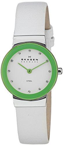 Skagen Brights - Blanc Cuir Vert Cadran Montre Femme