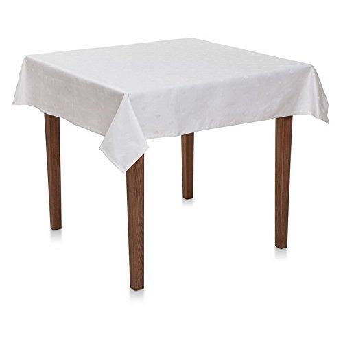 Damast Tischdecke eckig, Rauten, Weiß, 100% Baumwolle, pflegeleicht, kochfest, Vollzwirn | 130x130 cm - mit 3 cm Saum
