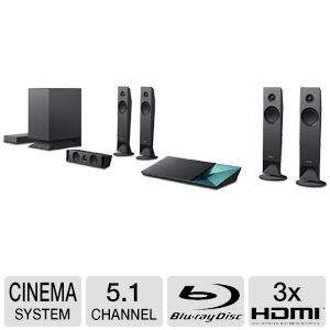 "Sony 5.1 Channel 1000 Watts 3D Blu-ray DVD Wireless Surround Sound Home Theater System with Full HD 1080p, Built-In Wi-Fi, Bluetooth, 4K Upscaling, Digital Music Enhancer, Bass Reflex Speaker System And 7.1"" Sub-Woofer, Magnetic Fluid Glass Fiber Speakers"
